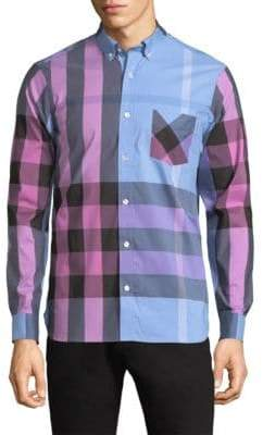 Burberry Thornaby Giant Check Button-Down Shirt