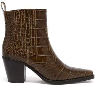 Ganni Callie Crocodile Effect Leather Ankle Boots - Womens - Khaki