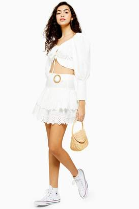 Topshop Womens White Broderie Tiered Mini Skirt - White