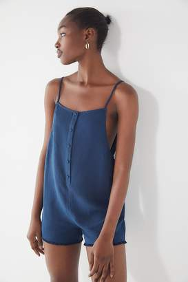 Urban Outfitters Button-Down Frayed Linen Romper
