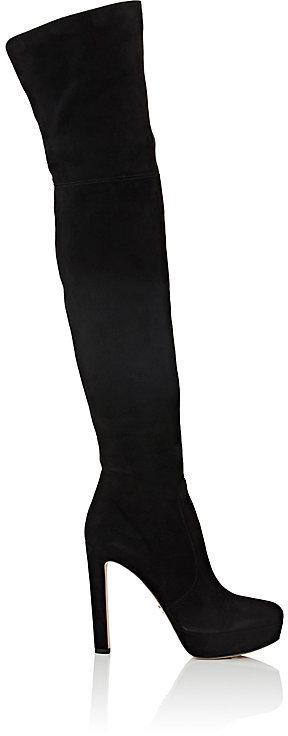 Prada Women's Suede Over-The-Knee Platform Boots