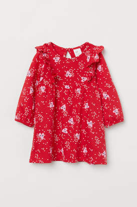 H&M Patterned Ruffled Dress - Red
