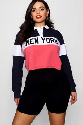 boohoo Plus New York Slogan Polo Top