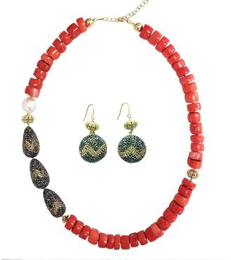 Farra - Baroque Freshwater Pearls & Natural Bamboo Coral Necklace Earrings Gift Set