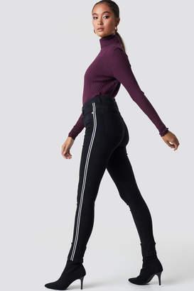 NA-KD Na Kd Skinny High Waist Side Stripe Jeans Black