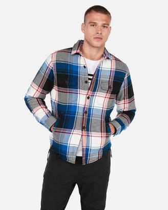 Express Plaid Fleece-Lined Flannel Overshirt