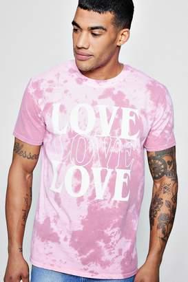 boohoo Love Slogan Tie Dye T-Shirt
