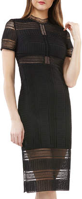 JS Collections Graphic Lace Illusion Dress