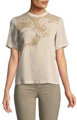 Elie Saab Short-Sleeve Blouse with Lace