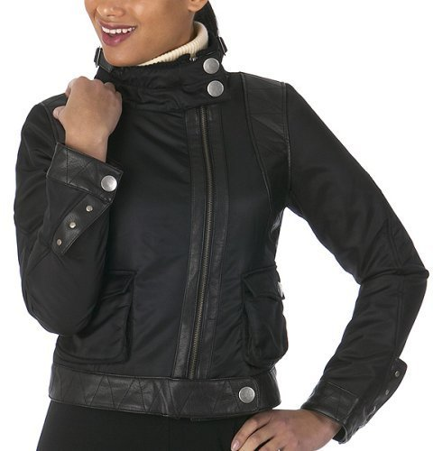 Mossimo® Black: Faux Leather Nylon Bomber - Black