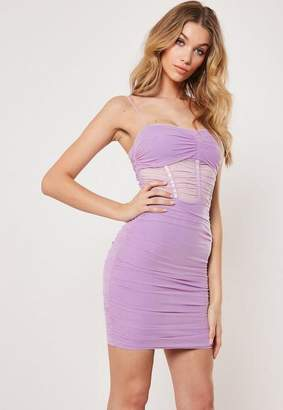 Missguided Lilac Ruched Bodycon Mini Dress