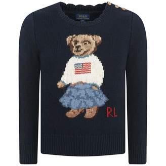 Ralph Lauren Ralph LaurenGirls Navy Iconic Bear Sweatshirt