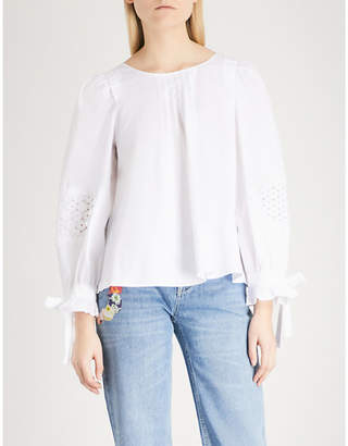 Claudie Pierlot Embroidered tie-sleeve cotton-poplin top