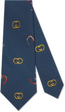 Gucci Silk tie with GG horseshoe print