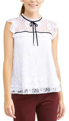 Alison Andrews Women's High Neck Ruffle Lace Short Sleeve Top
