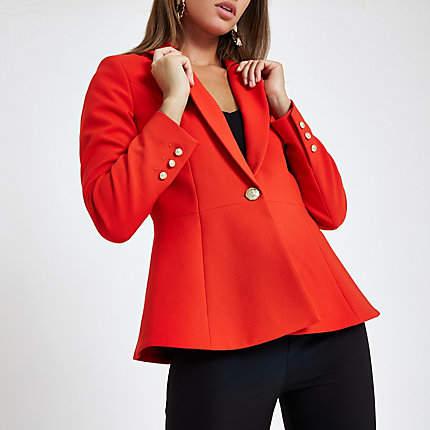 Womens Red fitted peplum hem blazer