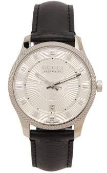 Gucci Eryx Stainless Steel And Leather Watch - Mens - Black Silver
