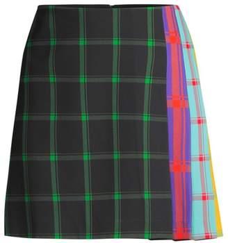 Alice + Olivia Semira Multicolor Side-Pleat Plaid Mini A-Line Skirt