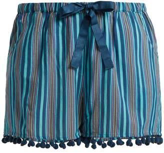 Figue Maja striped pom pom-hem shorts