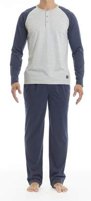 Ben Sherman Sleep & Underwear Sleepwear & Underwear Men's Long Sleeve Henley & Lounge Pant Set