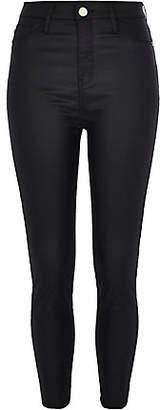 River Island Petite black Harper coated high rise jeans