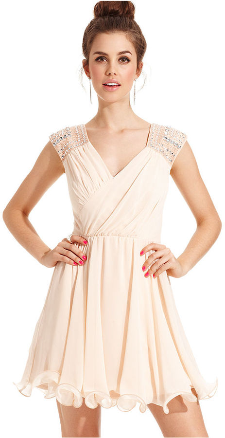 As U Wish Juniors Dress, Cap Sleeve Embellished A-Line