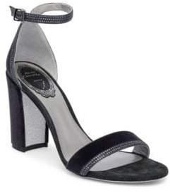 Rene Caovilla Crystal Block Heel Sandals