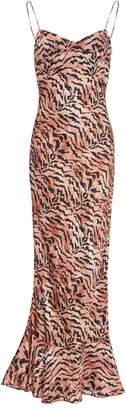 Saloni Mimi Tiger-Print Silk-Satin Slip Dress