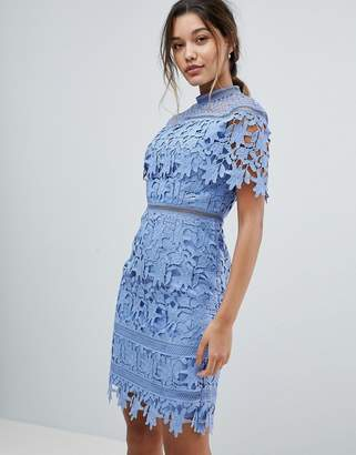 Chi Chi London lace high neck mini dress in cornflower blue