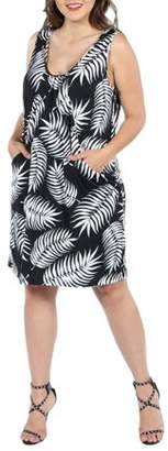 24/7 Comfort Apparel 24Seven Comfort Apparel Aviana Black Feather Pattern Plus Size Mini Dress