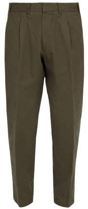 The Gigi - Pleated Front Tapered Leg Cotton Trousers - Mens - Khaki