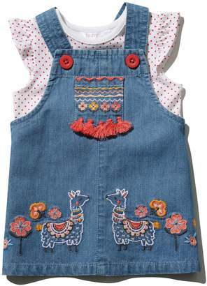M&Co Embroidered pinny dress and t-shirt set