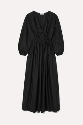 Matteau - Wrap-effect Cotton-poplin Maxi Dress - Black