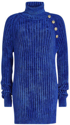 Balmain Turtleneck Pullover with Embossed Buttons