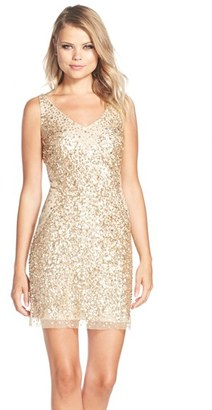 Adrianna Papell Sequin Tulle Sheath Dress $259 thestylecure.com