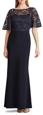Lauren Ralph Lauren Lace-Overlay Jersey Gown