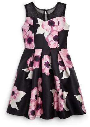 Us Angels Girls' Satin Floral Dress - Big Kid