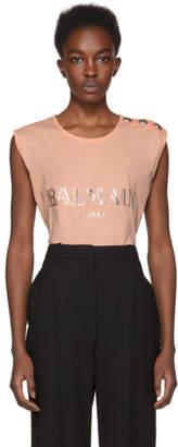 Balmain Pink Sleeveless Logo T-Shirt