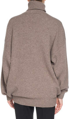 Balenciaga Cashmere-Blend Logo Embroidery Turtleneck Sweater