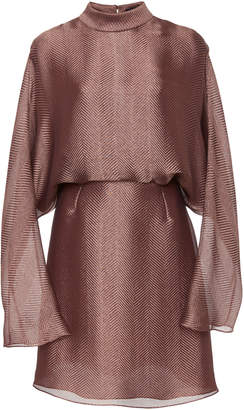 Sally LaPointe Metallic Silk Herringbone Dolman Dress