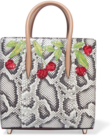 Christian Louboutin  Christian Louboutin - Paloma Small Embellished Elaphe And Metallic Textured-leather Tote - Snake print