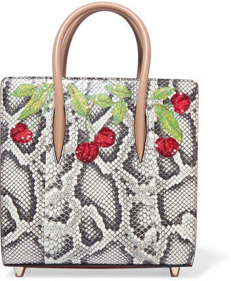Christian Louboutin - Paloma Small Embellished Elaphe And Metallic Textured-leather Tote - Snake print $2,850 thestylecure.com