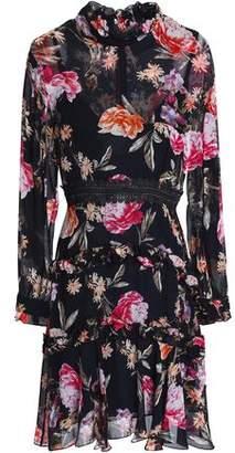 Nicholas Ruffle-Trimmed Floral-Print Silk-Chiffon Mini Dress