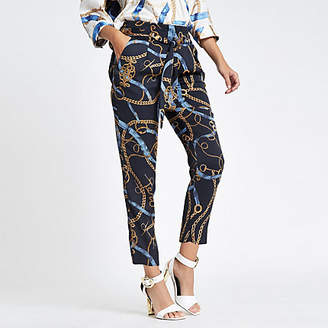 River Island Blue chain print tie waist tapered pants