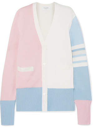 Thom Browne Color-block Silk-blend Cardigan - Pink