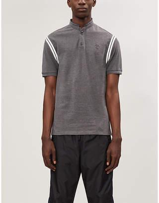 The Kooples Striped-trim cotton-piqué polo shirt