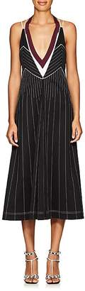 Valentino Women's Striped Tech-Jersey Halter Midi-Dress