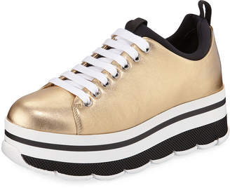 Prada Metallic Platform Low-Top Sneakers