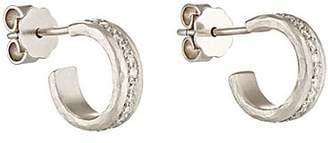 Malcolm Betts Women's White Diamond & Hammered Platinum Half-Hoop Earrings