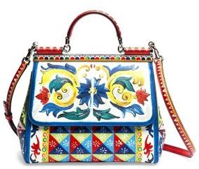Dolce & Gabbana Medium Miss Sicily Printed Leather Tote $2,945 thestylecure.com